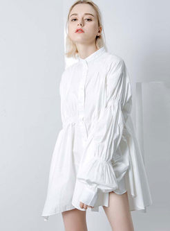 Casual Irregular Lantern Sleeve Shirt Dress