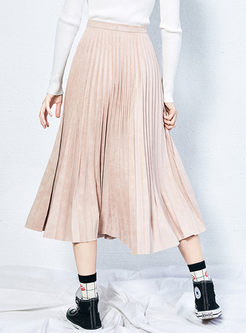Solid Color High Waisted Pleated Skirt