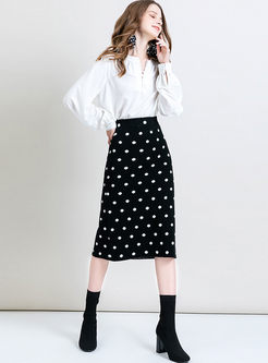 Black Polka Dot Slim Bodycon Midi Skirt