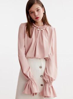 Sweet Standing Collar Beading Blouse