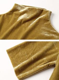 Solid Color Turtleneck Slim T-shirt