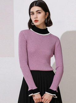 Color-blocked Flare Sleeve Slim Sweater