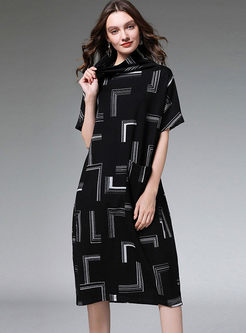 Plus Size Geometric Print Loose Dress