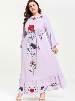 Plus Size Embroidered Falbala Maxi Dress