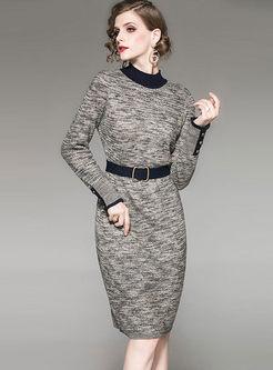 Half Turtleneck Long Sleeve Sweater Dress
