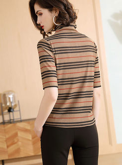 Turtleneck Short Sleeve Striped T-shirt