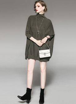 Solid Color Turtleneck Mini Knitted Dress