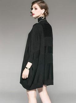 Black Long Sleeve Loose Sweater Dress