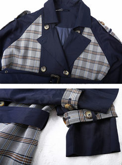 Retro Lapel Plaid Patchwork Trench Coat