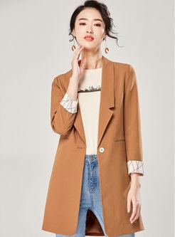 Solid Color Turn Down Collar Blazer