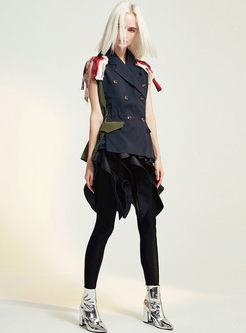 Lapel Embroidered Patchwork Tassel Vest
