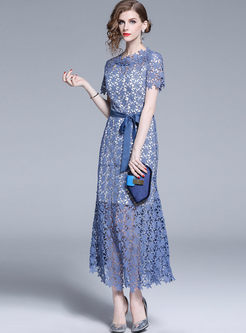Elegant Lace Openwork Slim Maxi Dress