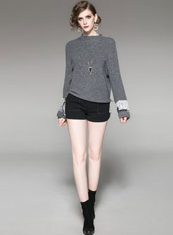 Casual Standing Collar Patchwork Sweater