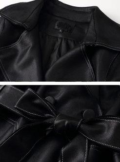 Lapel Long Sleeve Tie-Waist Trench Coat