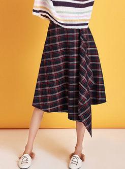 Retro High Waist Plaid Irregular Skirt