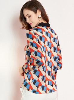 Tie-collar Long Sleeve Print Silk Blouse