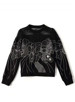 Black O-neck Mesh Patchwork Sweatshirt