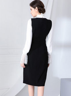 Turtleneck Lace Chiffon Blouse & Black Dress