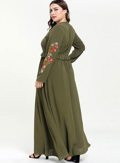 Plus Size Embroidered A Line Maxi Dress