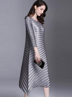 Plus Size Pleated Irregular Shift Dress