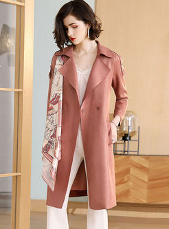 Lapel Print Patchwork Slim Trench Coat