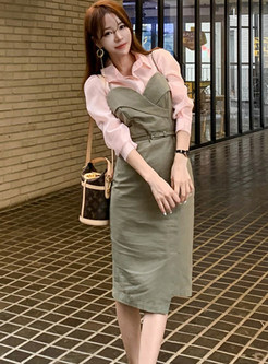 Pink Lapel Blouse & Hip Strap Dress