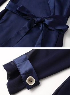 Solid Color Lapel Tie Waist Trench Coats