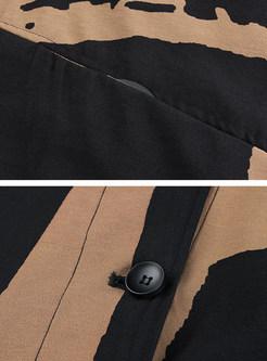 Stand Collar Irregular Hem Print Coat