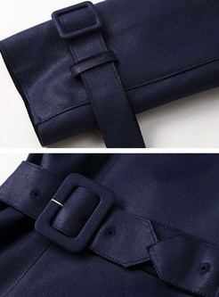Casual Notched Double-breasted Waist Trench Coat
