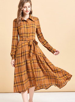 Lapel Color-blocked Plaid Waist T-shirt Dress