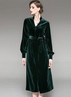 V-neck Long Sleeve Waist Velvet Dress