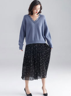Lace Patchwork Pullover Loose Sweater