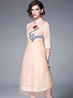 3/4 Sleeve Mesh Waist Skater Dress