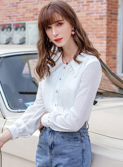 Solid Color Lapel Single-breasted Blouse
