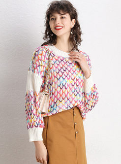 O-neck Openwork Pullover Loose Sweater