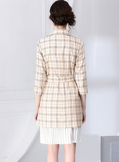 Notched Plaid Slim Blazer & Pleated Sun Dress