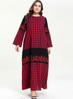 O-neck Plus Size Plaid Shift Dress