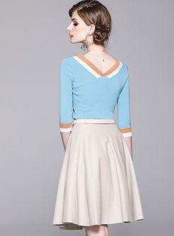 V-neck 3/4 Sleeve Top & A Line Skirt
