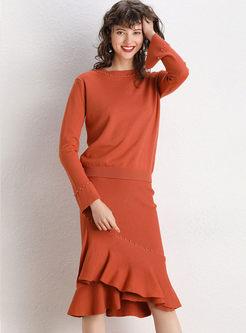 Flare Sleeve Beading Sweater & Slim Mermaid Skirt