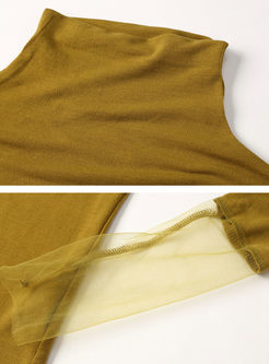 Solid Color Turtleneck Mesh Patchwork T-shirt