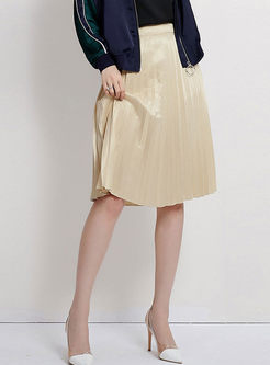 Brief Apricot Pleated A Line Skirt