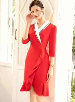 Color-blocked Lapel Falbala Bodycon Dress