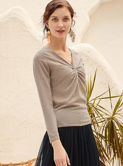 V-neck Long Sleeve Thin Knit Top