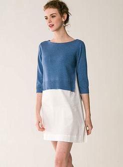 Slash Neck 3/4 Sleeve Knitted Mini Dress