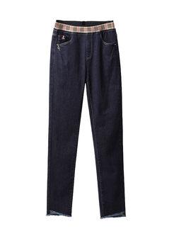 Plaid Elastic Waist Patchwork Denim Pants