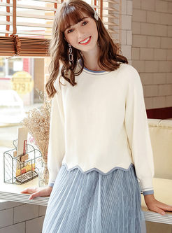 Sweet O-neck Pullover Loose Sweater