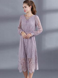 V-neck Lantern Sleeve Lace A Line Dress