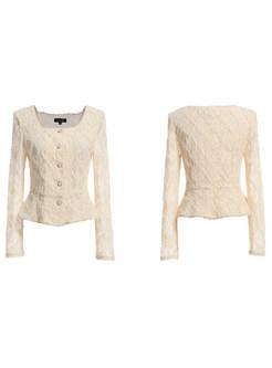 Square Collar Openwork Lace Pullover Slim Blouse