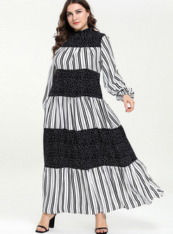 Plus Size Long Sleeve Patchwork Striped Maxi Dress