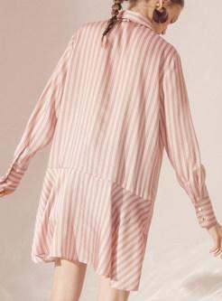 Lapel Irregular Hem Striped T-shirt Dress